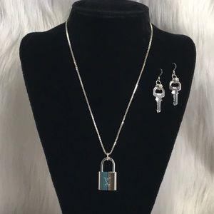 Louis Vuitton Silver Padlock Keys Put On 925 Chain